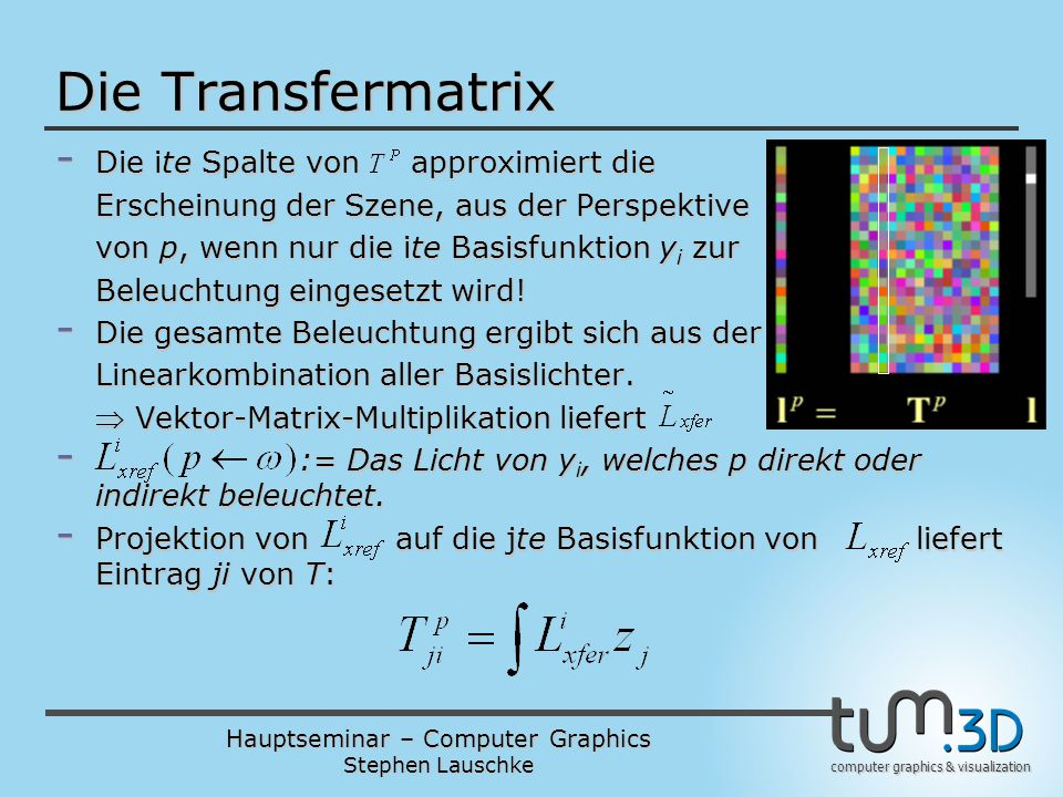 Die Transfermatrix Die ite Spalte von approximiert die