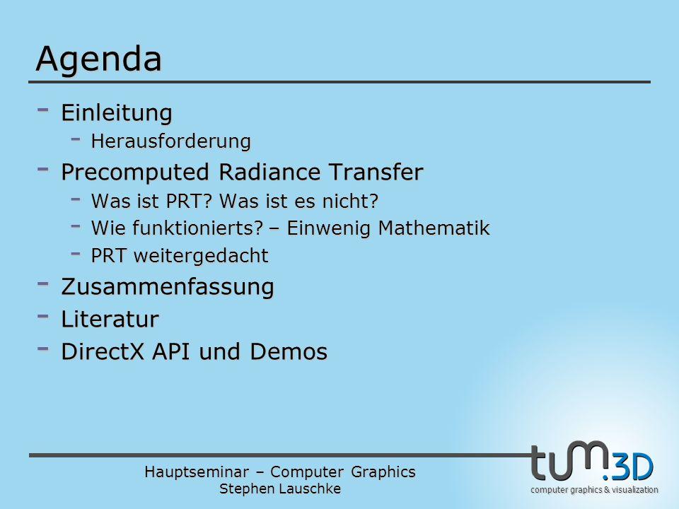 Agenda Einleitung Precomputed Radiance Transfer Zusammenfassung