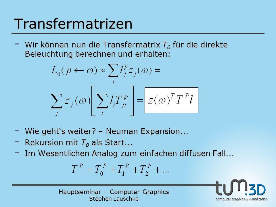 Transfermatrizen Wir können nun die Transfermatrix T0 für die direkte Beleuchtung berechnen und erhalten: