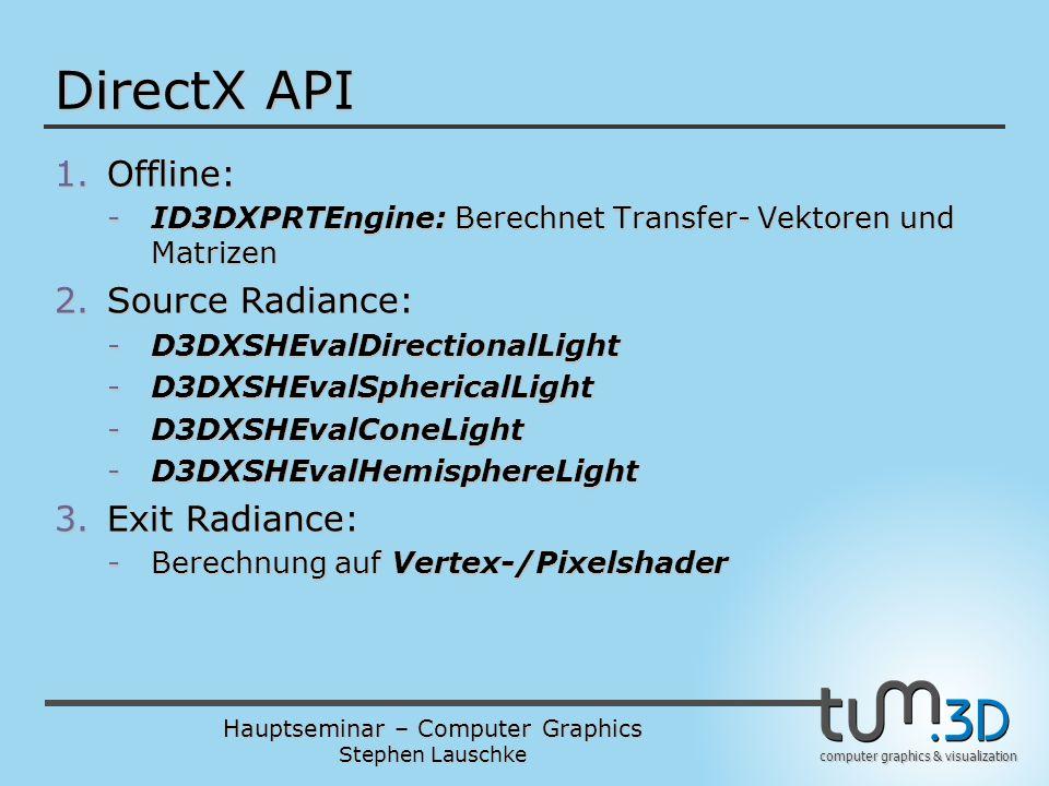 DirectX API Offline: Source Radiance: Exit Radiance:
