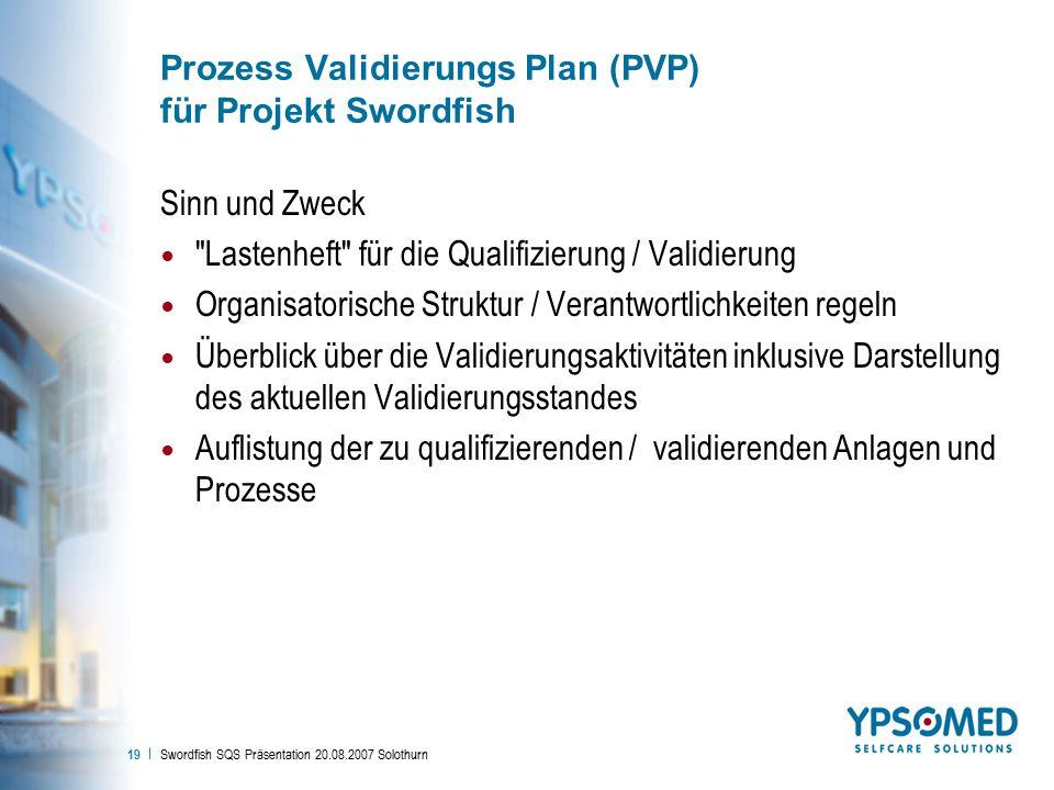 Prozess Validierungs Plan (PVP) für Projekt Swordfish
