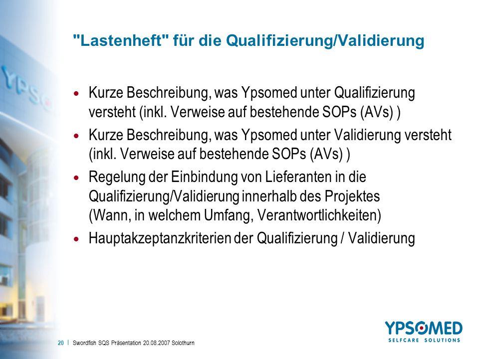 Lastenheft für die Qualifizierung/Validierung
