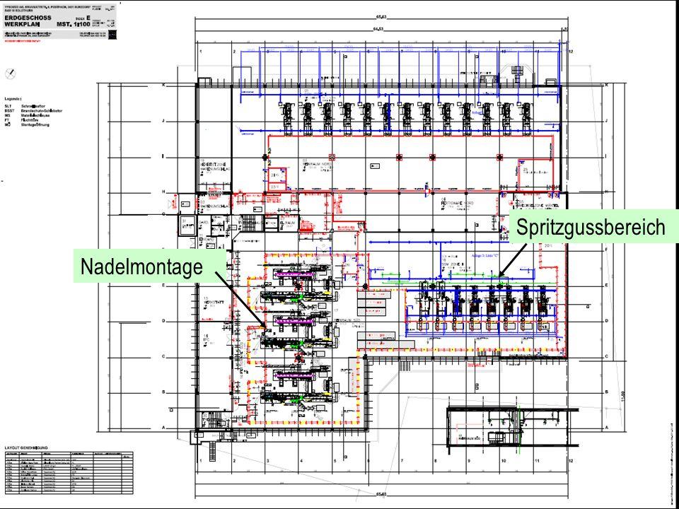 Spritzgussbereich Nadelmontage Layout mit Maschinen