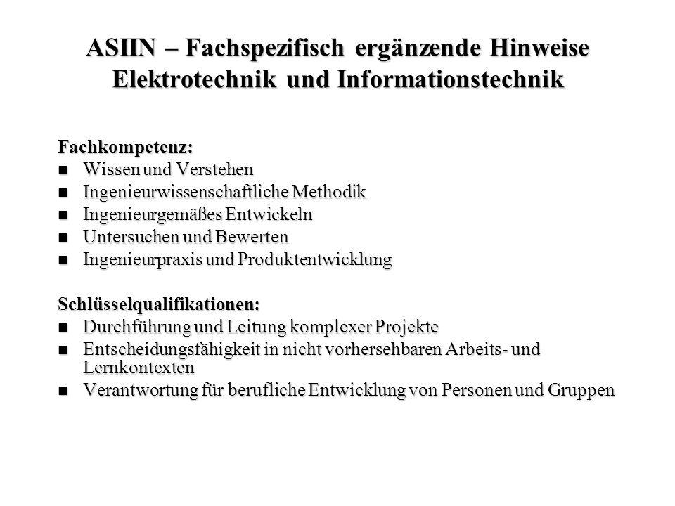 ASIIN – Fachspezifisch ergänzende Hinweise Elektrotechnik und Informationstechnik