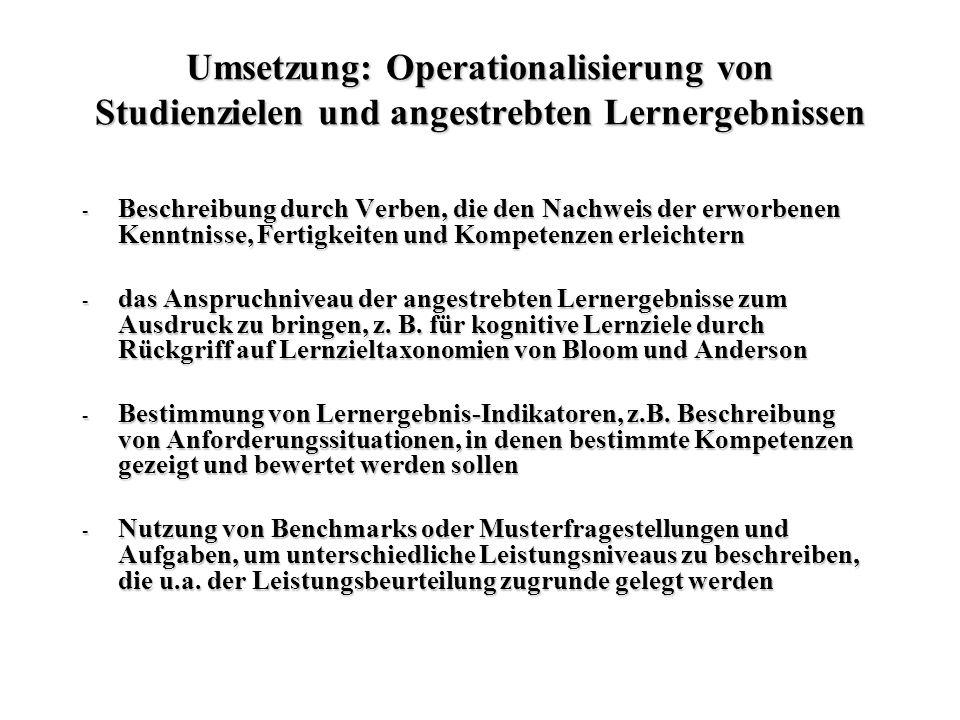Umsetzung: Operationalisierung von Studienzielen und angestrebten Lernergebnissen