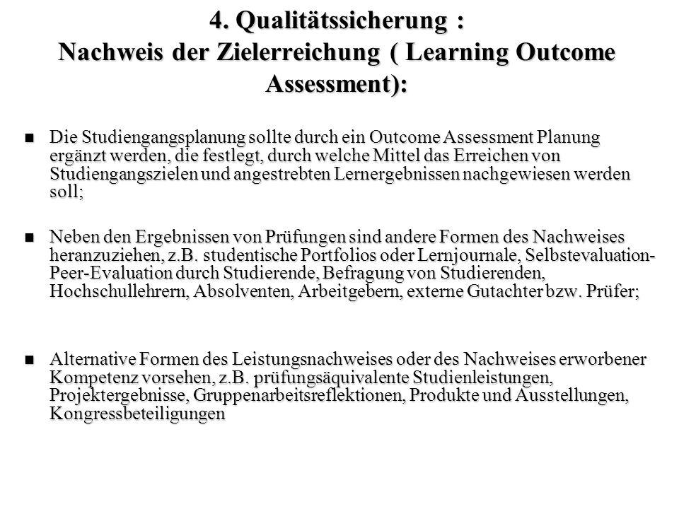 4. Qualitätssicherung : Nachweis der Zielerreichung ( Learning Outcome Assessment):