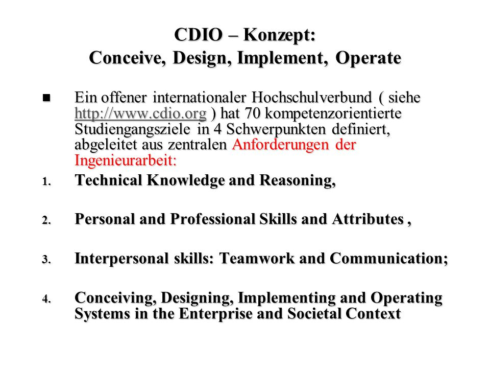 CDIO – Konzept: Conceive, Design, Implement, Operate