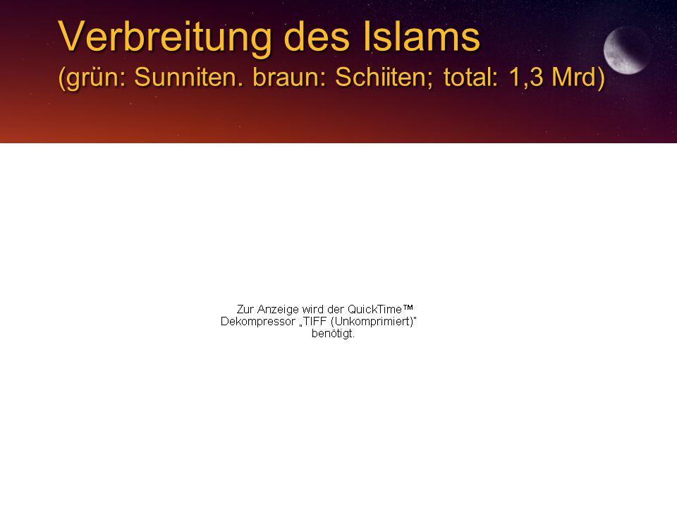 Verbreitung des Islams (grün: Sunniten