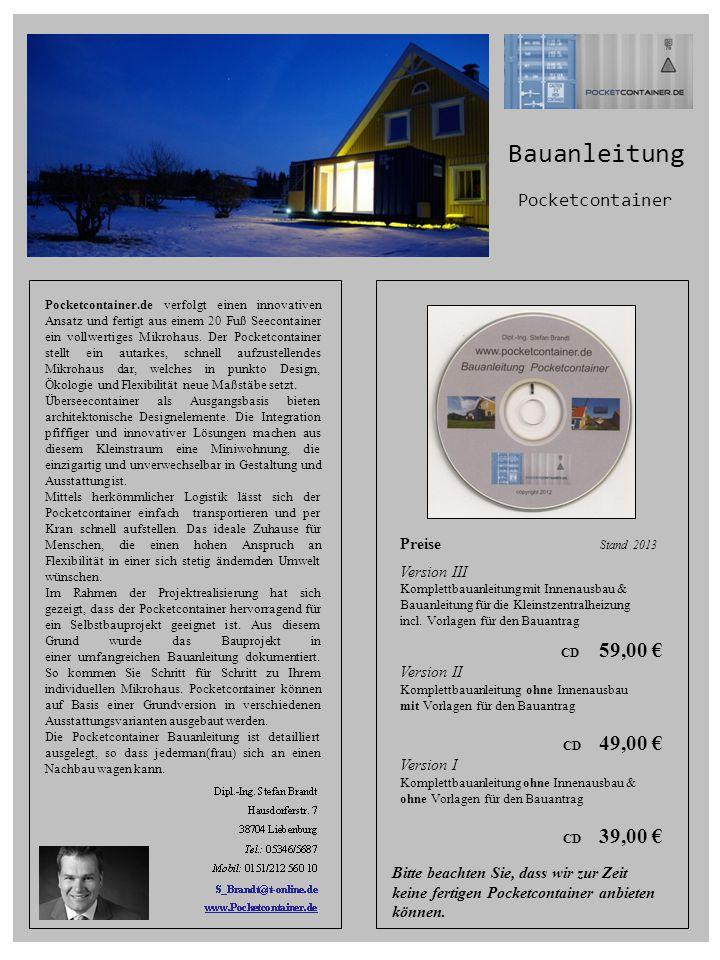 Bauanleitung Pocketcontainer Preise Stand 2013 Version III Version II