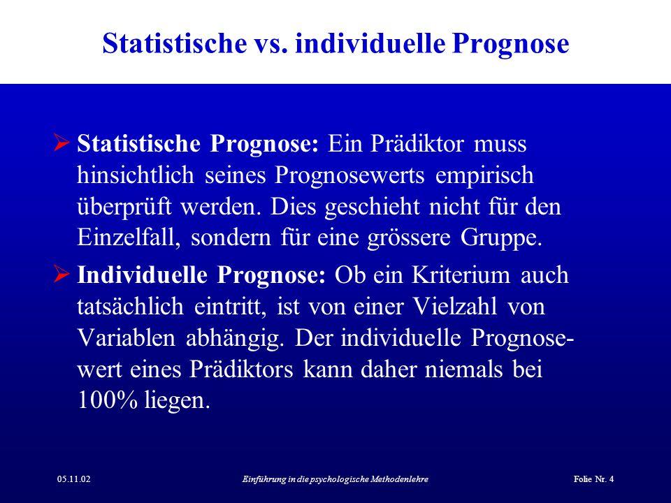 Statistische vs. individuelle Prognose