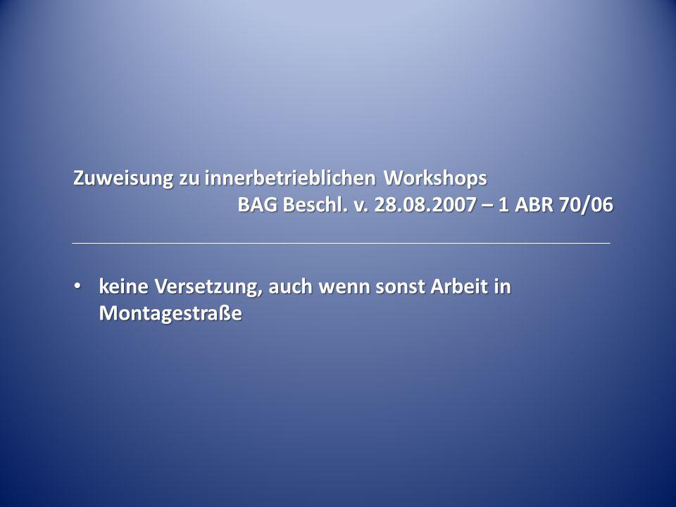 Zuweisung zu innerbetrieblichen Workshops