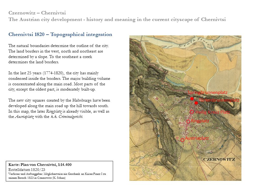 Chernivtsi 1820 – Topographical integration