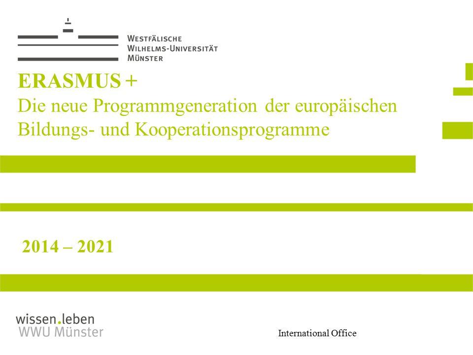 ERASMUS + Die neue Programmgeneration der europäischen Bildungs- und Kooperationsprogramme 2014 – 2021