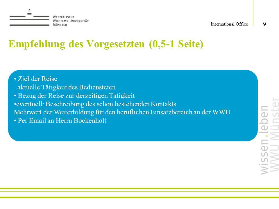 Empfehlung des Vorgesetzten (0,5-1 Seite)