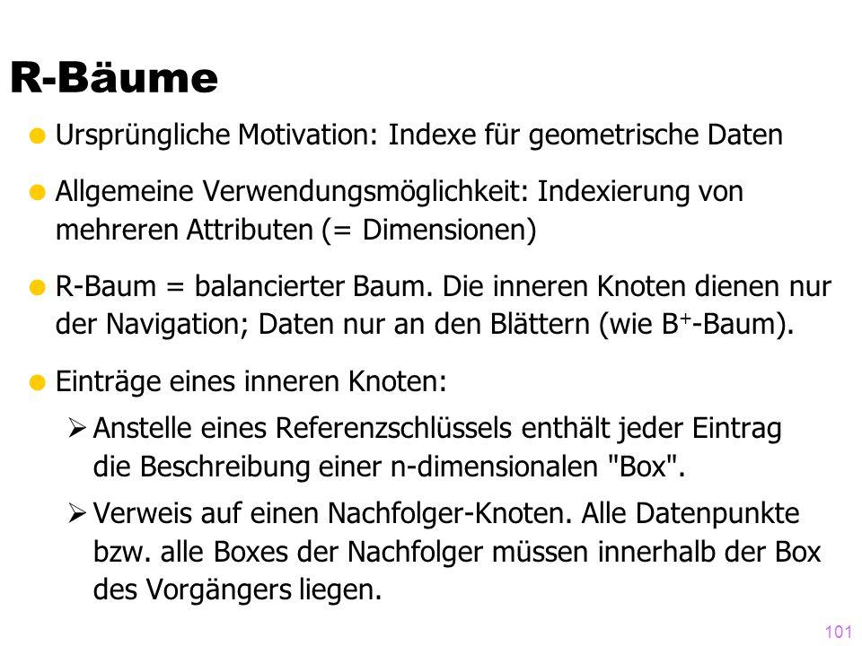 R-Bäume Ursprüngliche Motivation: Indexe für geometrische Daten