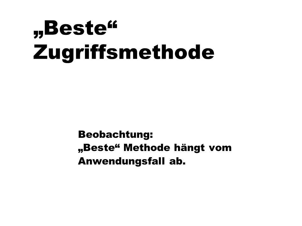 """Beste Zugriffsmethode"