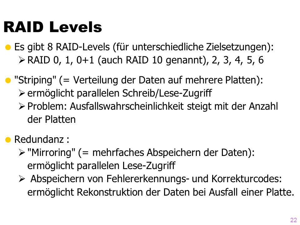 RAID Levels Es gibt 8 RAID-Levels (für unterschiedliche Zielsetzungen): RAID 0, 1, 0+1 (auch RAID 10 genannt), 2, 3, 4, 5, 6.