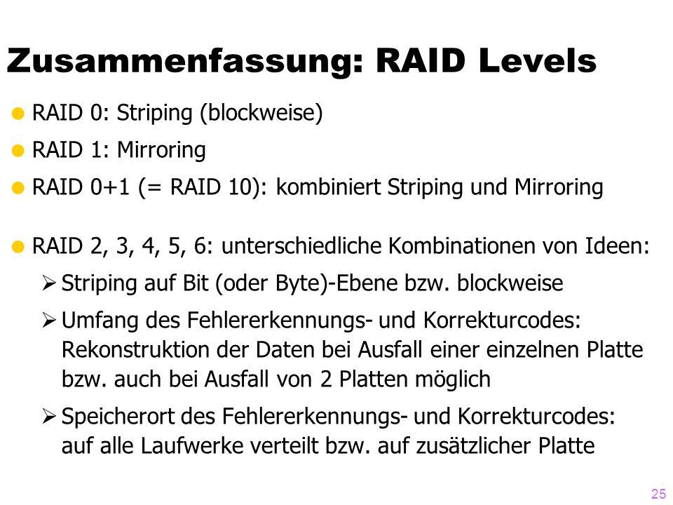 Zusammenfassung: RAID Levels
