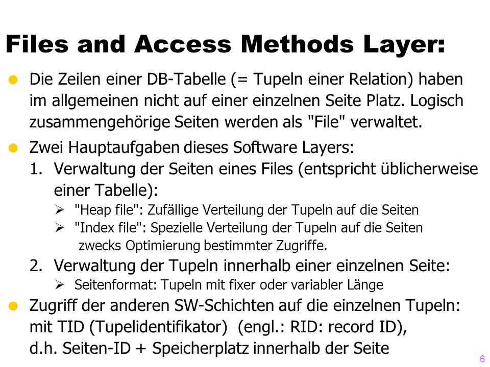 Files and Access Methods Layer: