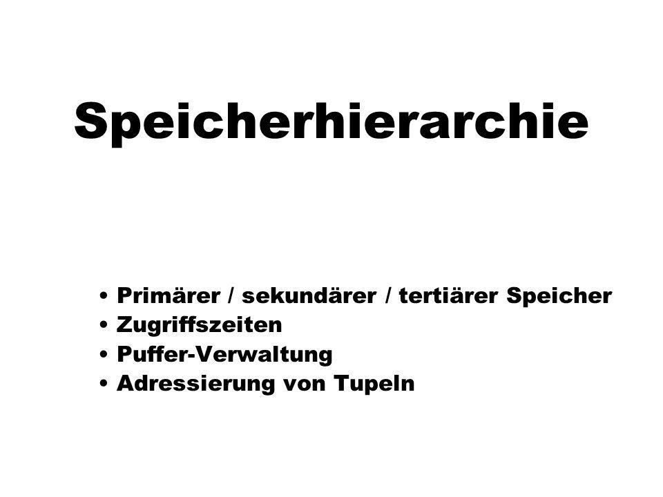 Speicherhierarchie Primärer / sekundärer / tertiärer Speicher