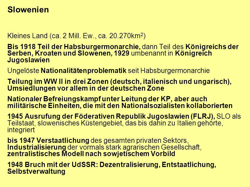 Slowenien Kleines Land (ca. 2 Mill. Ew., ca. 20.270km2)