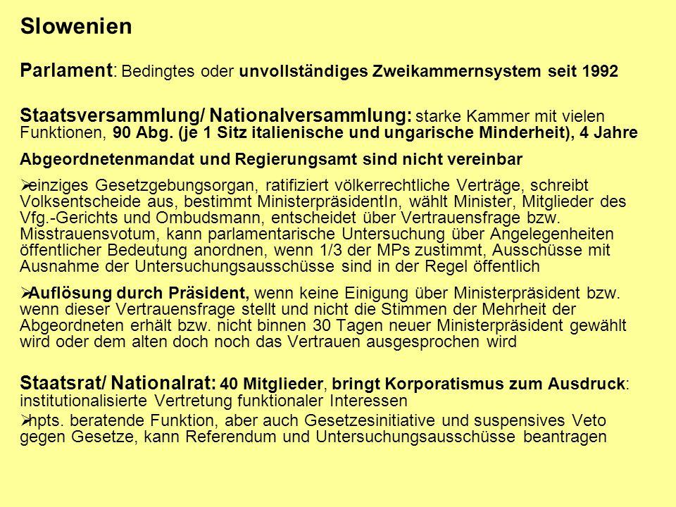 Slowenien Parlament: Bedingtes oder unvollständiges Zweikammernsystem seit 1992.