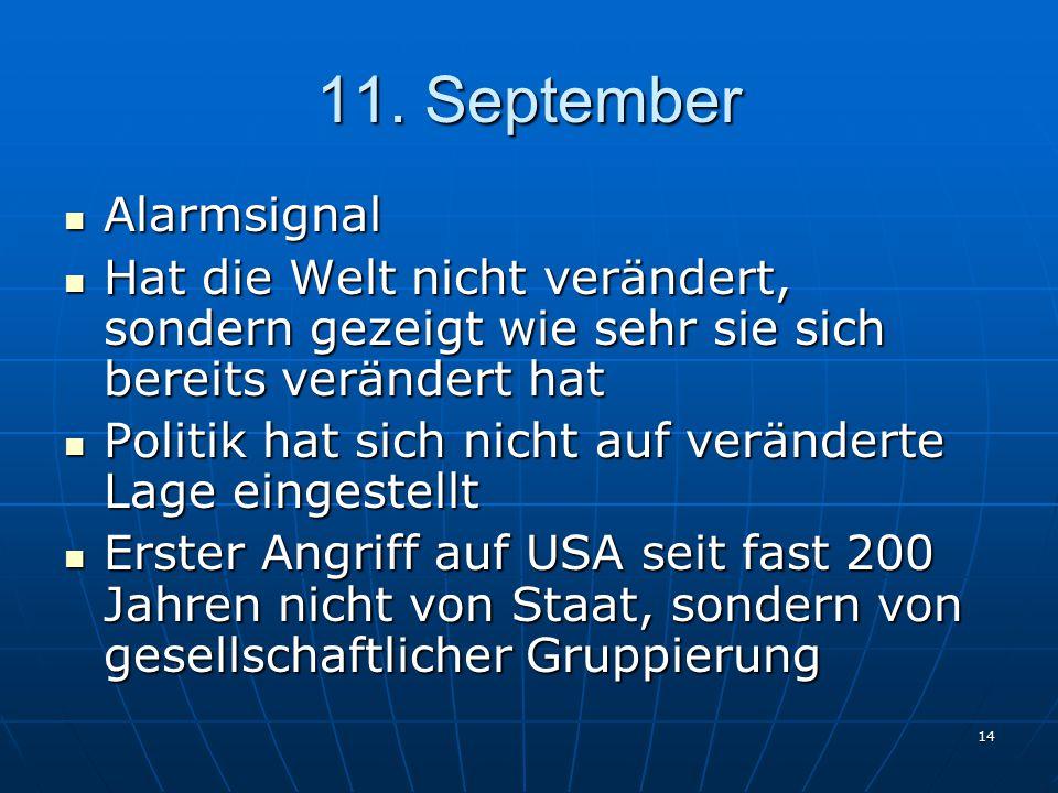 11. September Alarmsignal