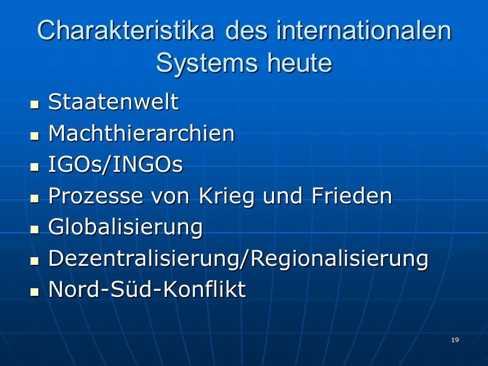 Charakteristika des internationalen Systems heute