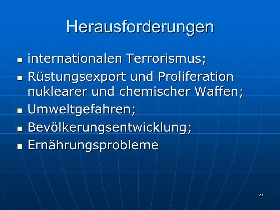 Herausforderungen internationalen Terrorismus;