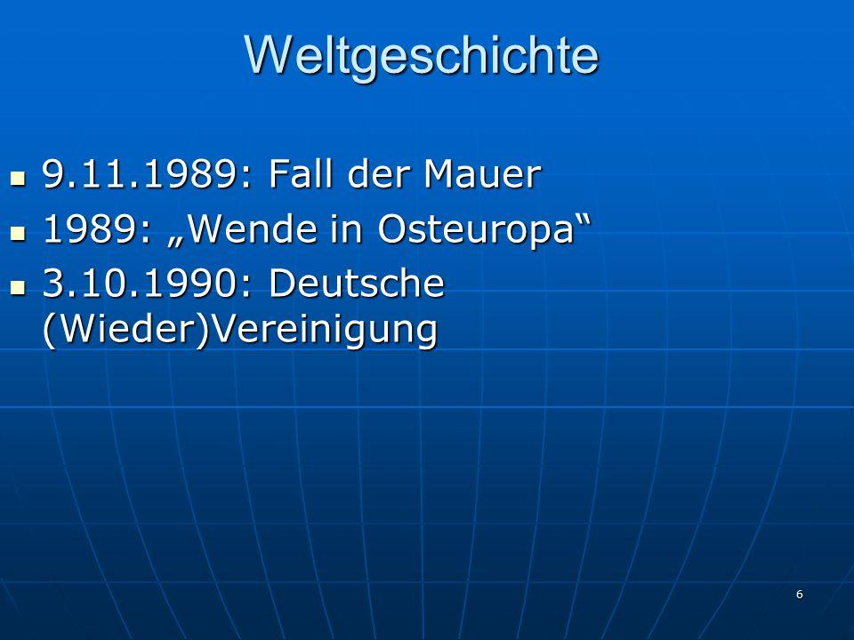 """Weltgeschichte 9.11.1989: Fall der Mauer 1989: """"Wende in Osteuropa"""