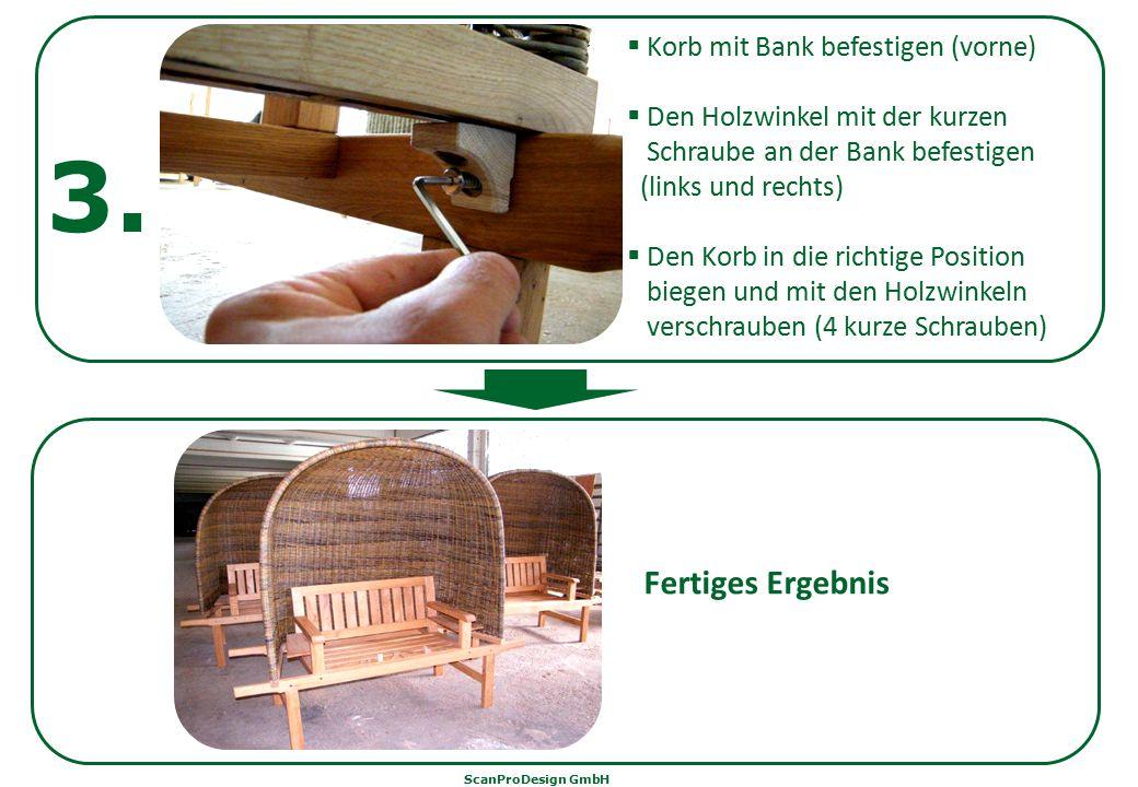 3. Fertiges Ergebnis Korb mit Bank befestigen (vorne)