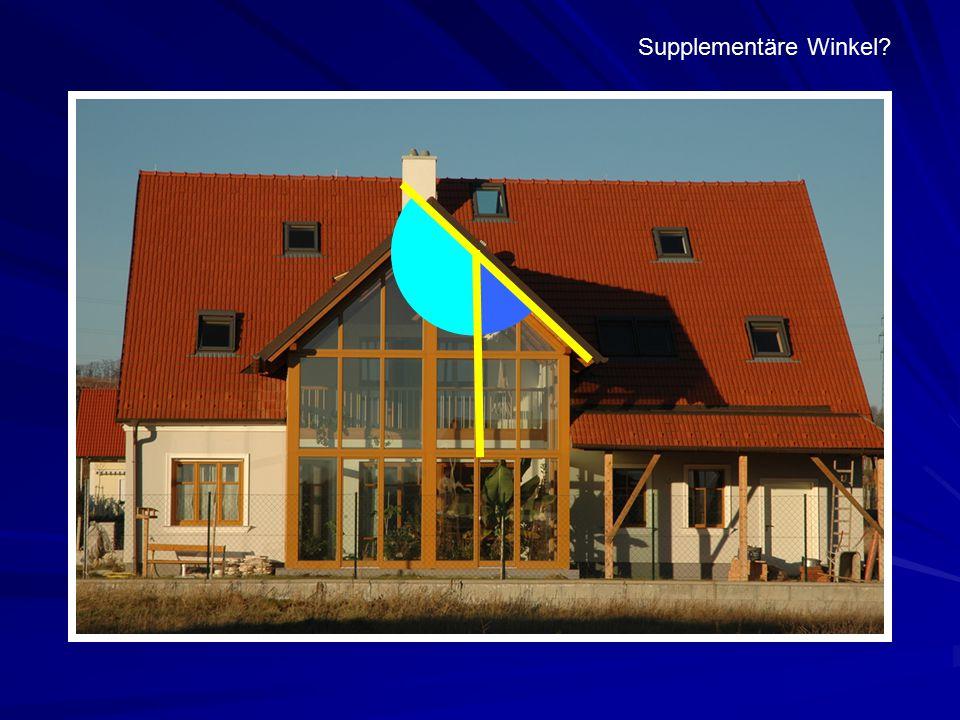 Supplementäre Winkel Supplementäre Winkel bei einer Fensterfront beim Wintergarten eines Hauses.