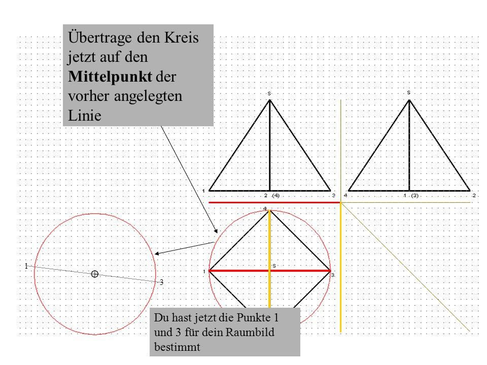 Übertrage den Kreis jetzt auf den Mittelpunkt der vorher angelegten Linie