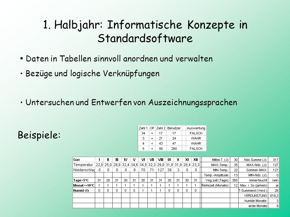 1. Halbjahr: Informatische Konzepte in Standardsoftware