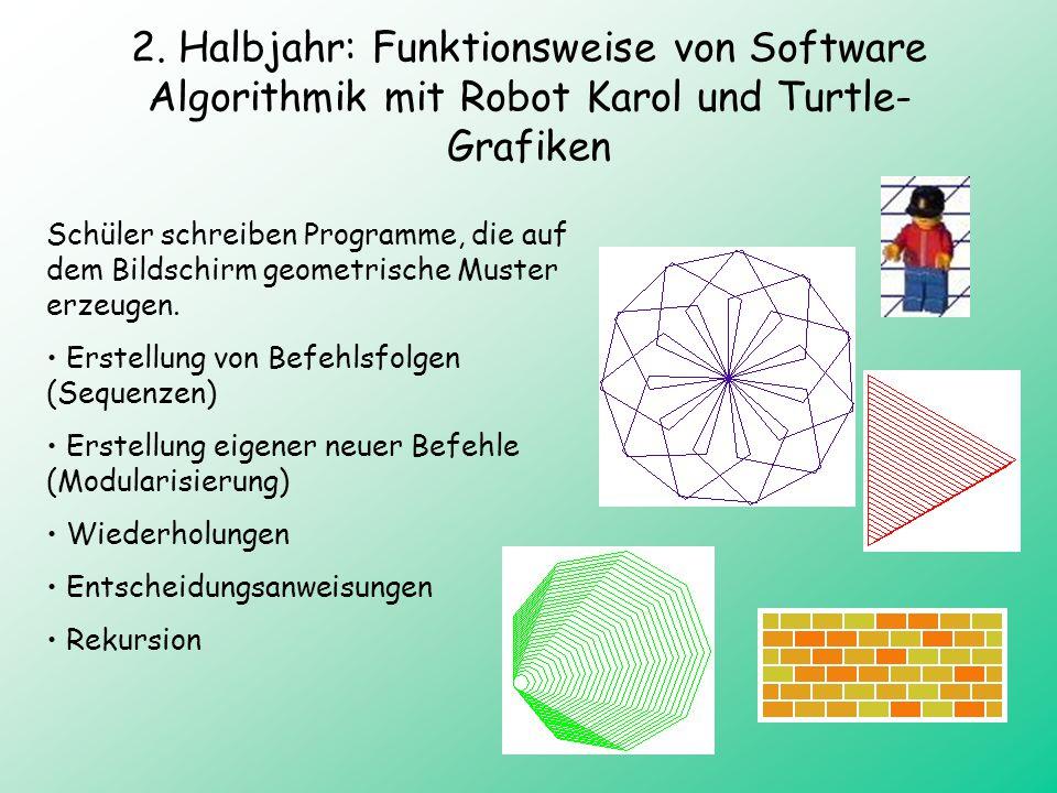 2. Halbjahr: Funktionsweise von Software Algorithmik mit Robot Karol und Turtle-Grafiken