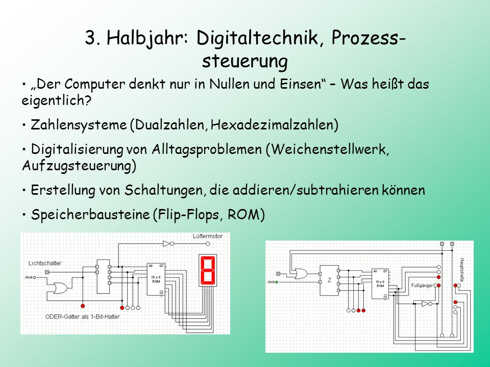 3. Halbjahr: Digitaltechnik, Prozess-steuerung
