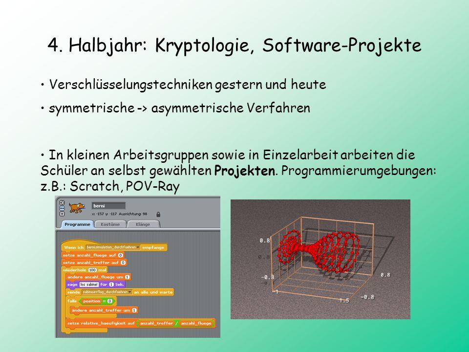 4. Halbjahr: Kryptologie, Software-Projekte