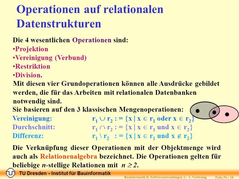 Operationen auf relationalen Datenstrukturen