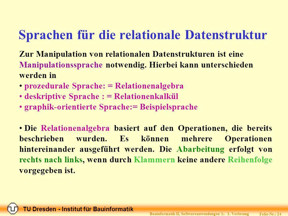 Sprachen für die relationale Datenstruktur