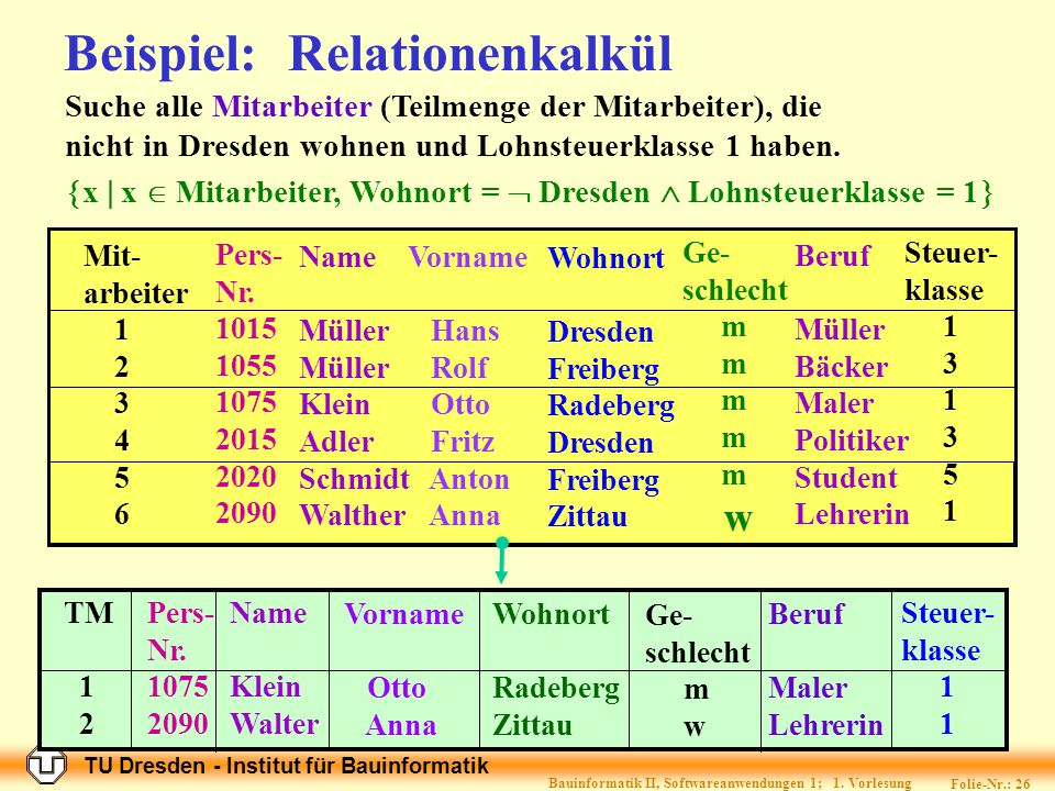 Beispiel: Relationenkalkül