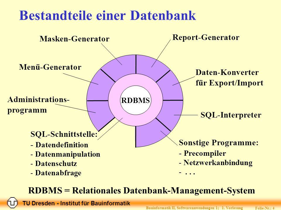 Bestandteile einer Datenbank