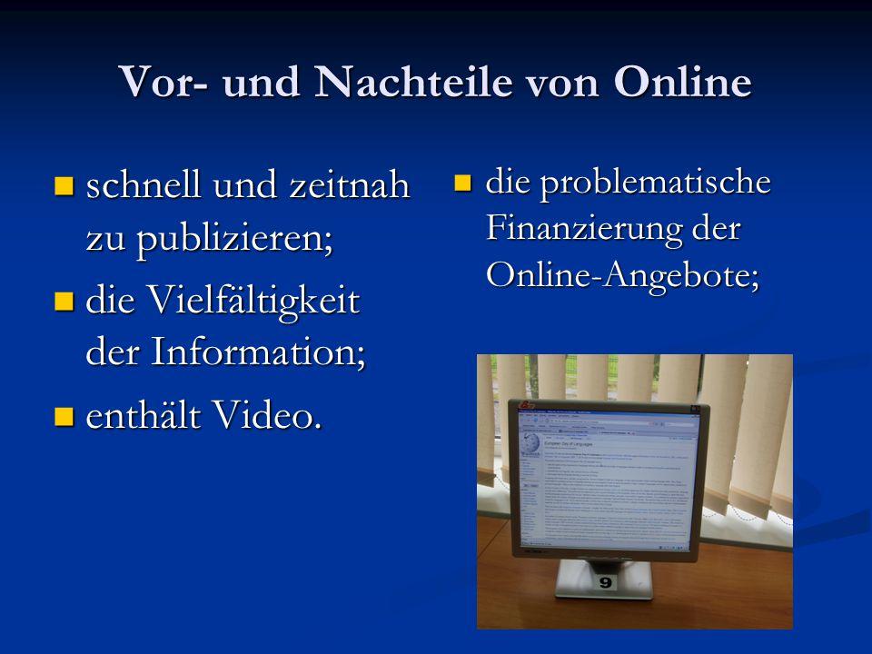 Vor- und Nachteile von Online