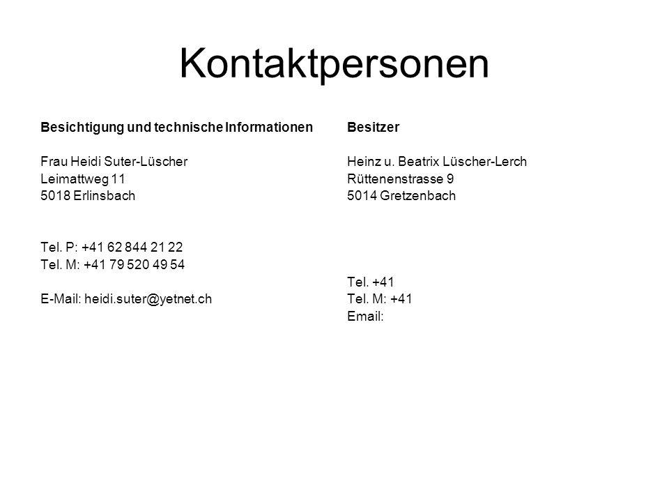 Kontaktpersonen Besichtigung und technische Informationen