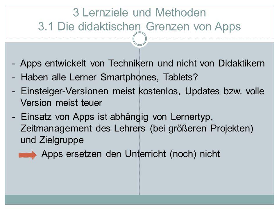 3 Lernziele und Methoden 3.1 Die didaktischen Grenzen von Apps