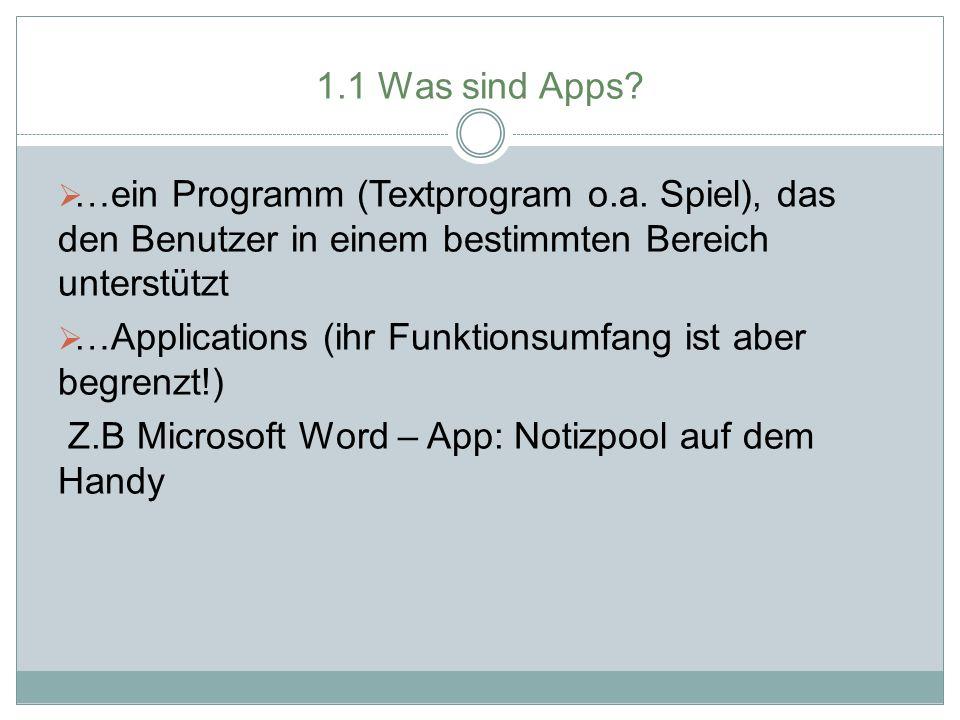 1.1 Was sind Apps …ein Programm (Textprogram o.a. Spiel), das den Benutzer in einem bestimmten Bereich unterstützt.