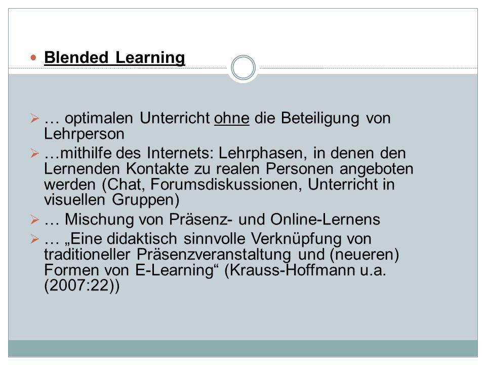Blended Learning … optimalen Unterricht ohne die Beteiligung von Lehrperson.