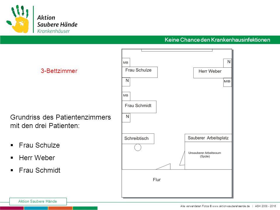 Grundriss des Patientenzimmers mit den drei Patienten: Frau Schulze