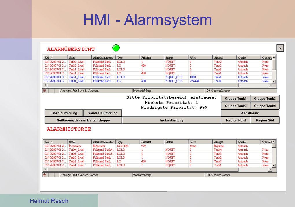 HMI - Alarmsystem Der Anlagenbediener muss auf Alarm- zustände aufmerksam gemacht werden.