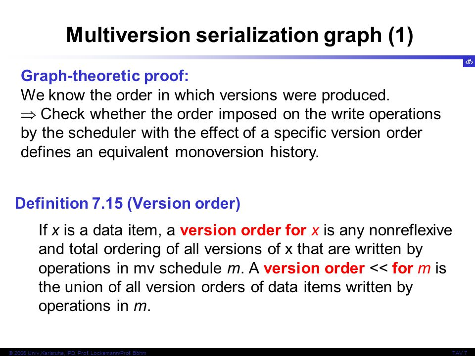 Multiversion serialization graph (1)