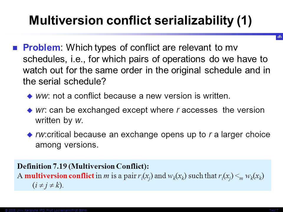 Multiversion conflict serializability (1)